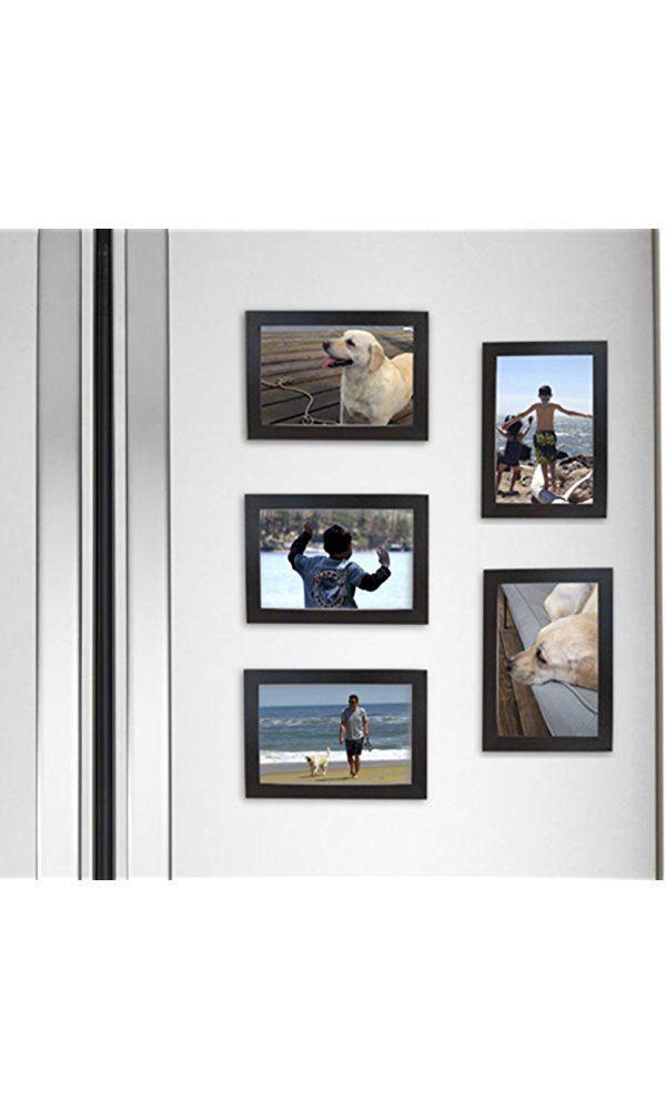 Fridgepic Wood Magnetic Photo Picture Frames, Black - Set of 5 (4x6 ...