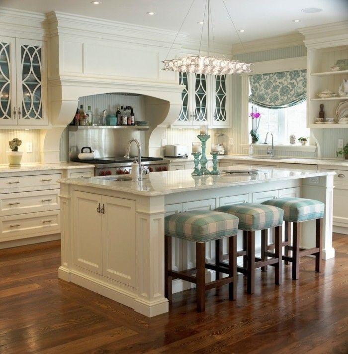 wohnideen küche creme farbgestaltung hocker leuchter - ikea küchen planen