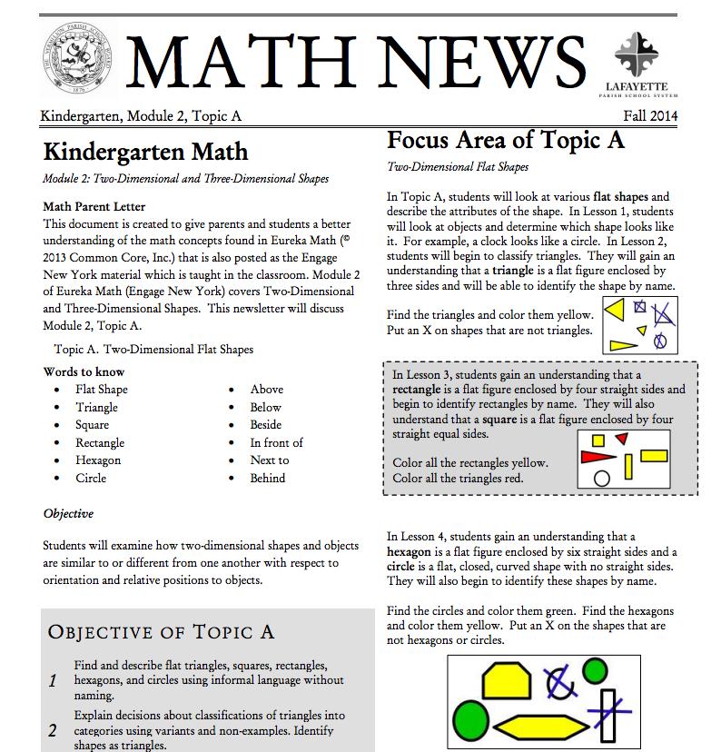 Kindergarten, Module 2, Topic A parent newsletter developed