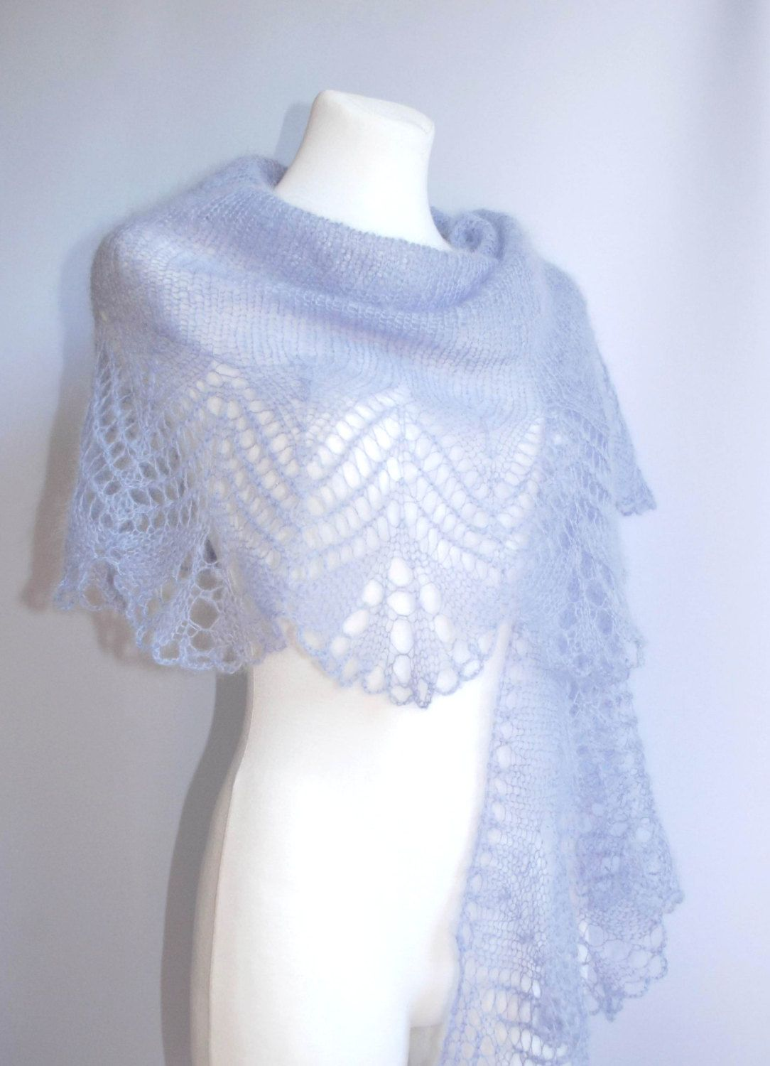 eb427f113f44 Lavender blue hand knitted mohair lace wedding shawl