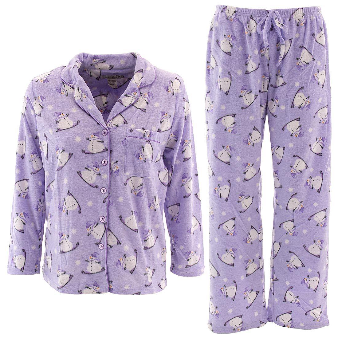 b0c674b4604d Purple Snowman Fleece Pajamas for Women - Click to enlarge
