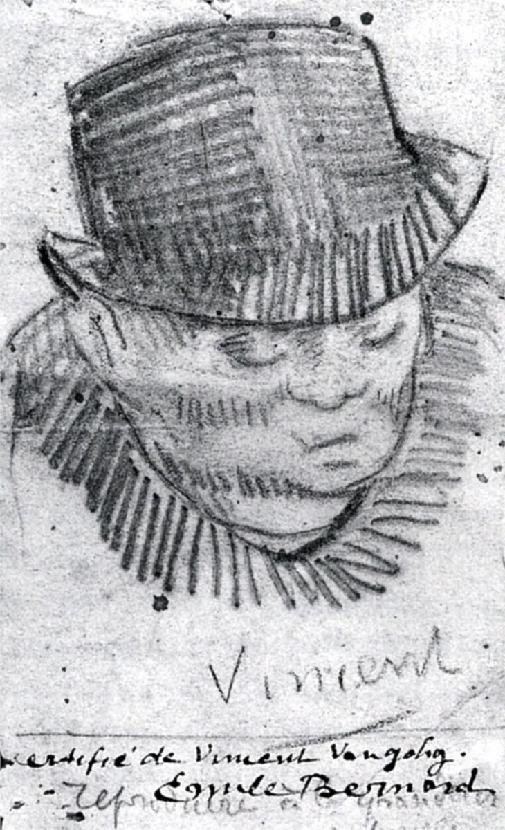 Head of a Man with Hat, 1886-Vincent van Gogh