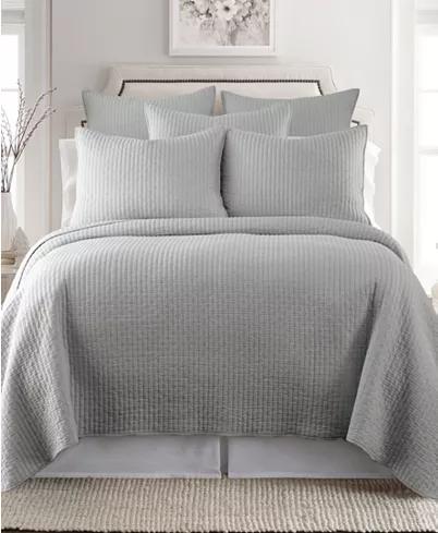 Photo of Home Cross Stitch Light Gray Twin Quilt Set