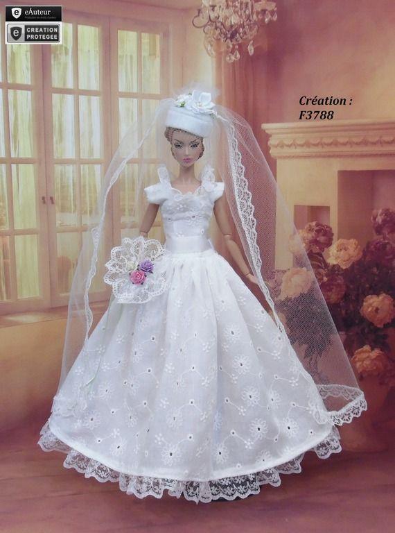 Robe Barbie mariée N°24 Vêtement pour poupée Barbie Silkstone Fashion Royalty Muse f3788