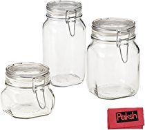 3pc Italian Glass Airtight Canister Hermetic Glass Jar With Hinged Lid Glass Food Container For Flou Glass Jars Glass Canister Jars Airtight Glass Canisters