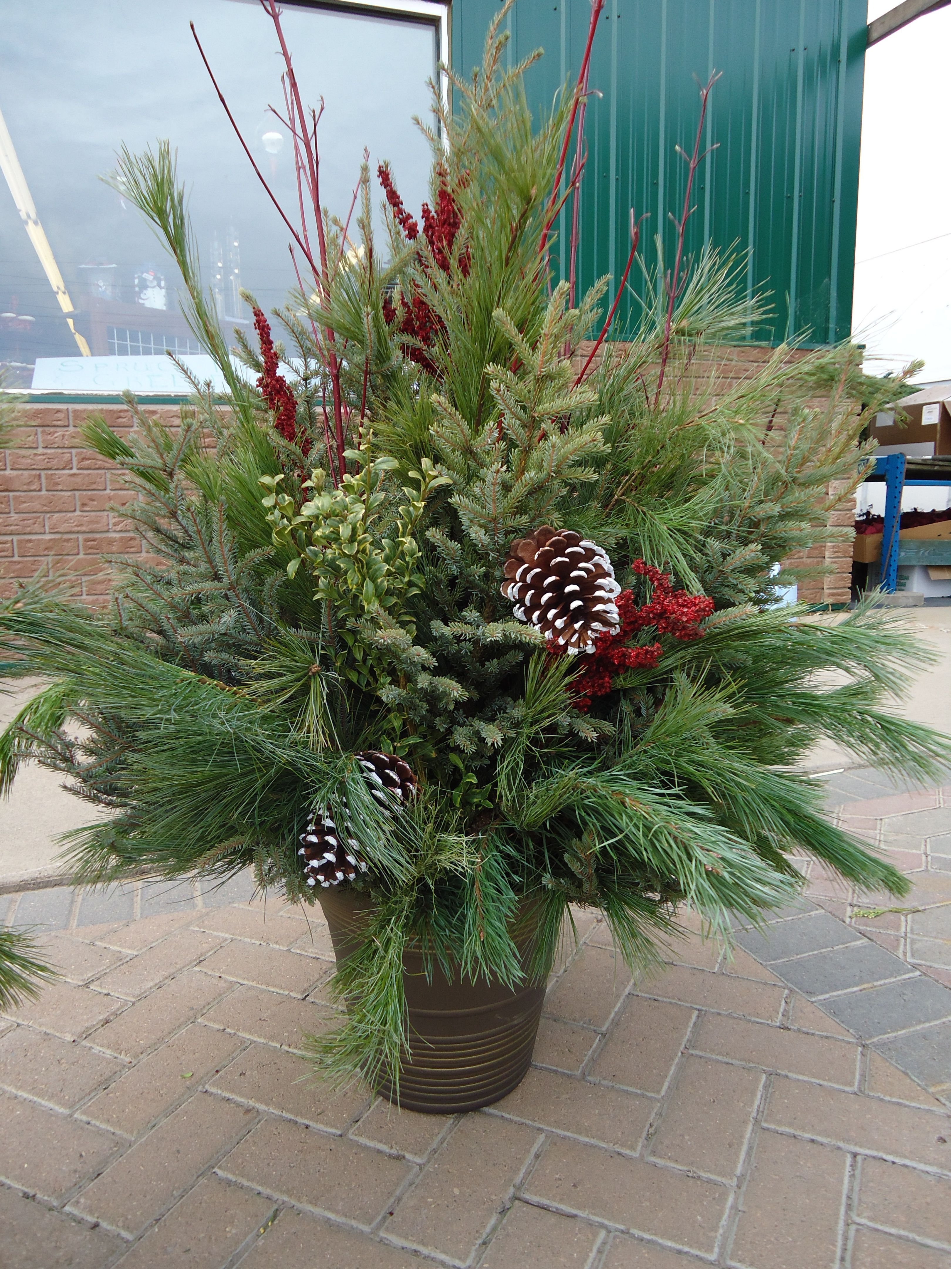 Outdoor christmas planter i wish mine looked this good for Yard planter ideas