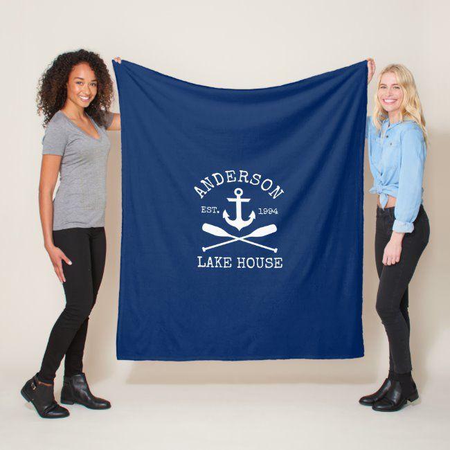 Nautical Anchor Oars Navy Blue Family Lake House Fleece Blanket #anchor #summer #nautical #family #name #FleeceBlanket #fleece #blankets #photo #personalized #customize #family #child #baby #wedding