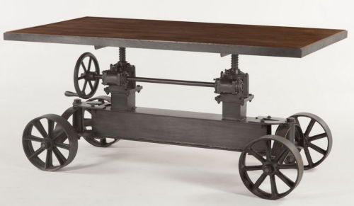 88-L-Dining-crank-table-industrial-design-black-iron-adjustable-teak-wood-top