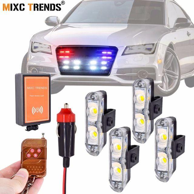 Wireless Remote Control Strobe Led Car Lights 4x2 Leds Stroboscope Flashing Police Lamp For Auto