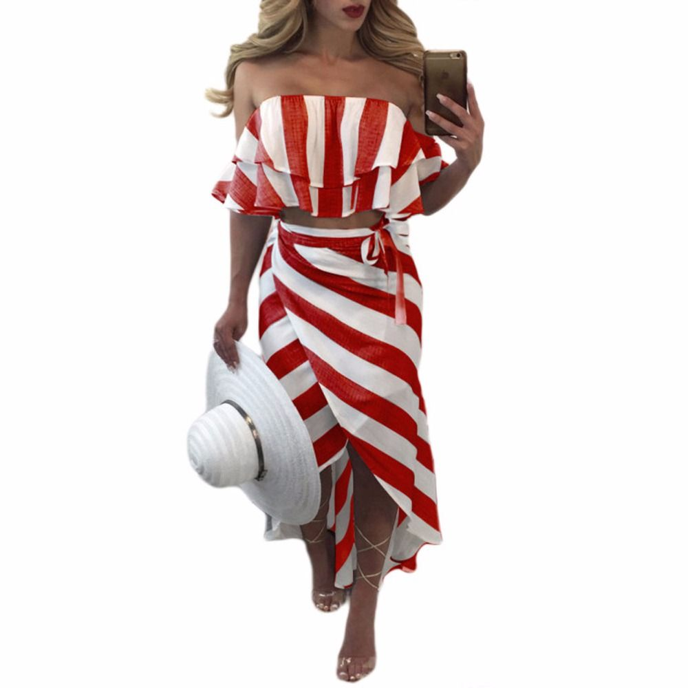 Sedrinuo cascading ruffle striped off shoulder sleeveless beach wear