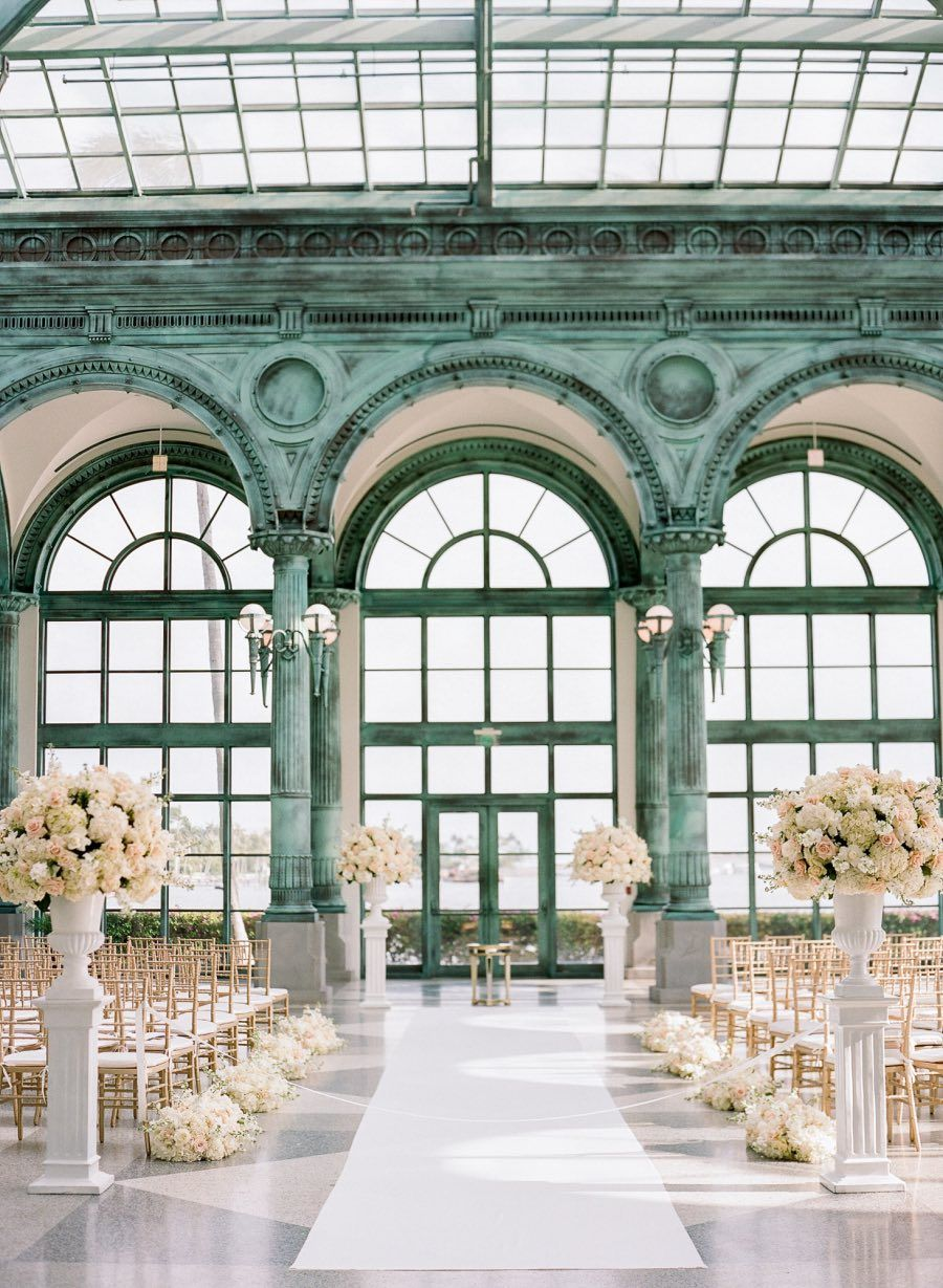 Beach wedding venues in san diego  Enchanting White and Blush Florida Wedding at the Flagler Museum