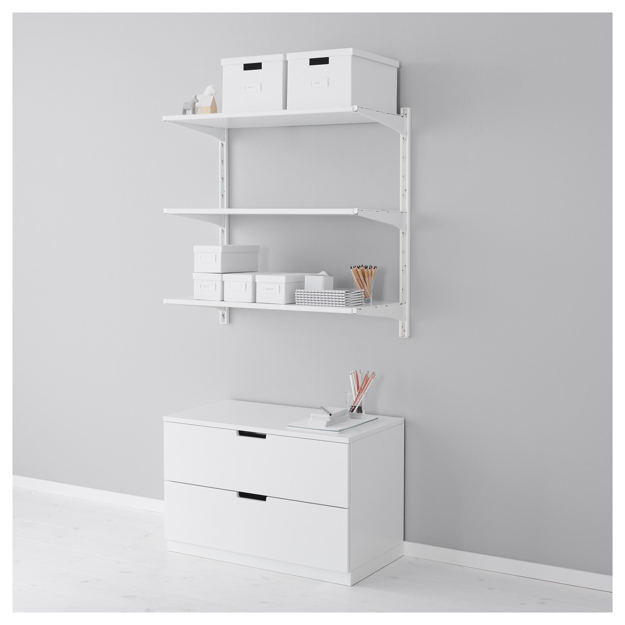 Algot Wall Upright Shelves White 33 7 8x16 1 8x33 1 2