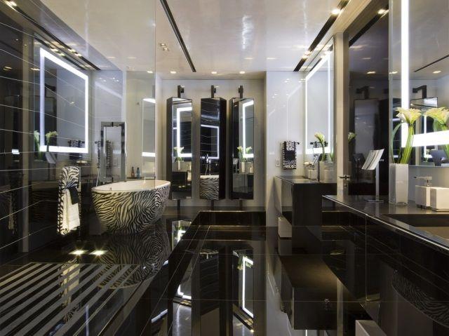 badezimmer luxus design schwarz badewanne zebra muster | Bad ...