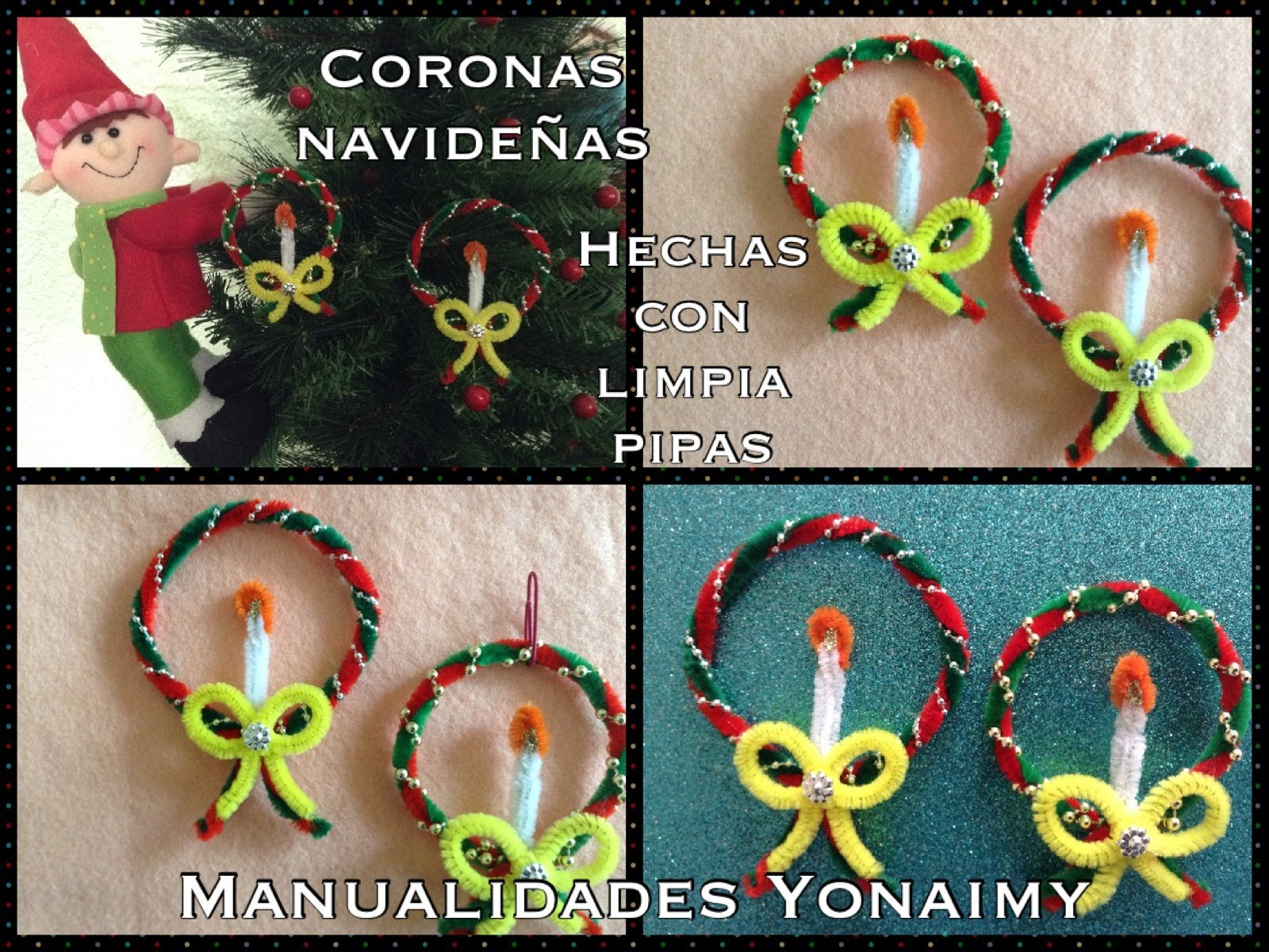 Coronas navide as hechas con limpia pipas playlist - Ideas decoracion navidad manualidades ...