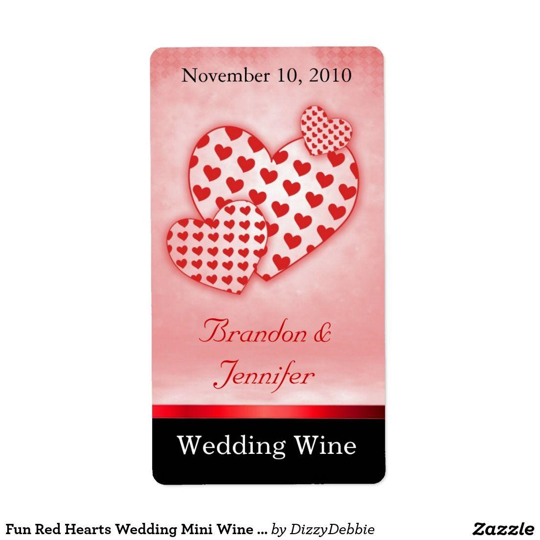Fun Red Hearts Wedding Mini Wine Labels | Wine / Champagne Bottle ...