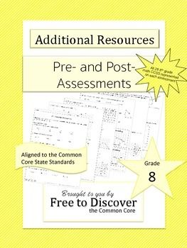 CCSS Grade 8 Math Pre-Assessment and Post-Assessment | Common Core