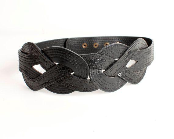 Black Waist Belt Women Vegan Leather Belt Wide Belt Button Belt ...