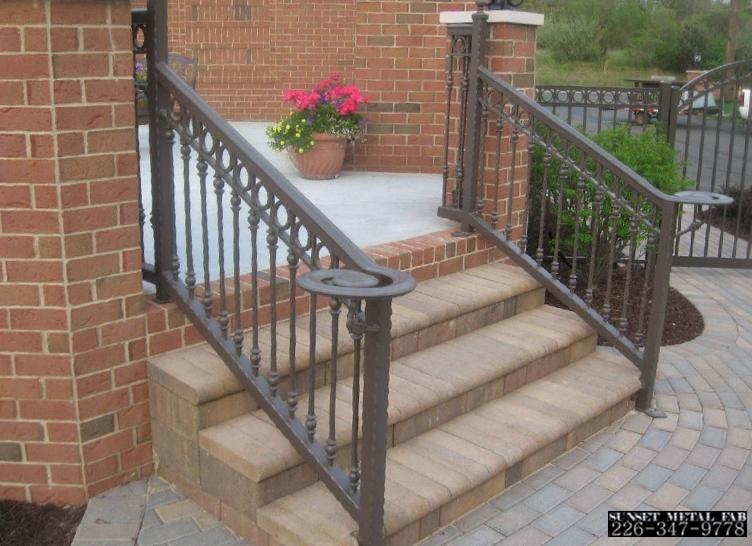railings white aluminum and porch decorative iron granicast is black genest or are functional precast wrought steps in available
