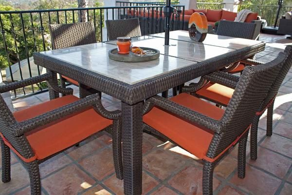 Sunset Wicker 6 Person Dining Table Comes With A Stone Top