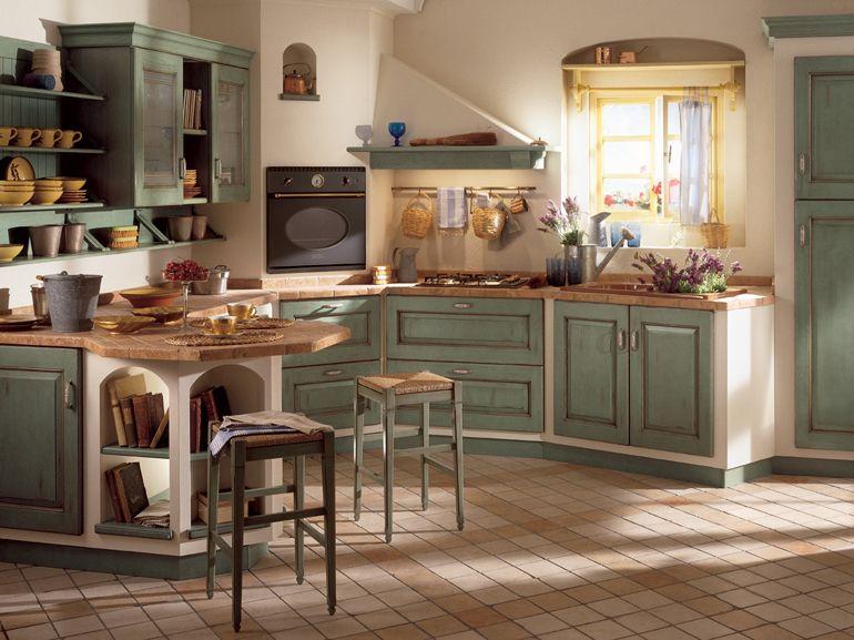 Cucina Belvedere di Scavolini con mobili effetto vintage in stile ...