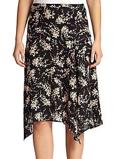 MICHAEL KORS Elderflower-Print Silk Skirt. #michaelkors #cloth #skirt