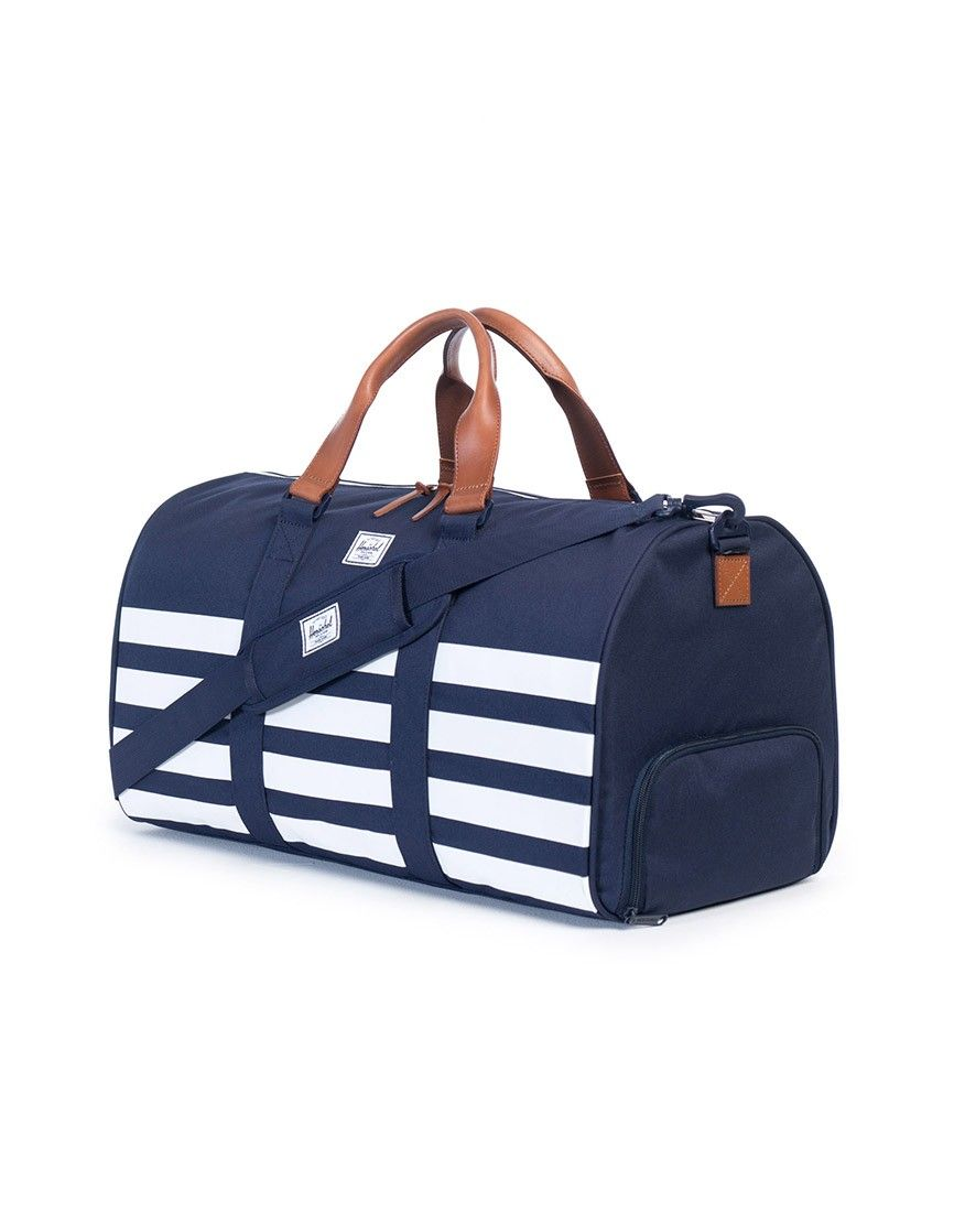 53ae0a91db75 Herschel Novel Duffle Bag Navy with removable padded shoulder strap and  signature shoe compartment