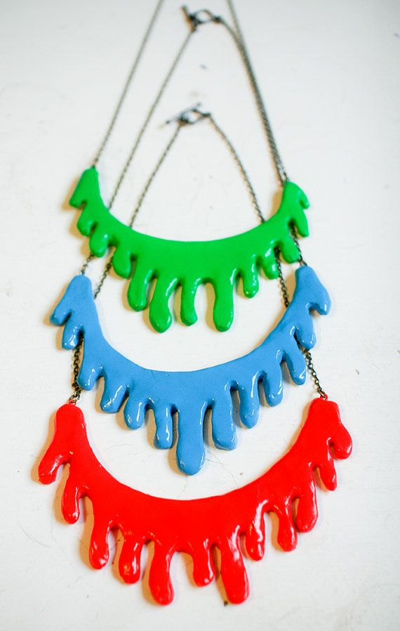 neon slime drip necklace / three colors to choose from