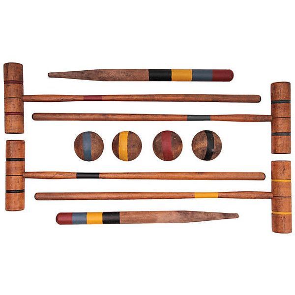 Pre-Owned Standard Croquet Set 16 pcs ($285) ❤ liked on Polyvore featuring home, outdoors, outdoor decor, outdoor, wood stake, vintage wood box, wooden box, wood box and outdoor garden decor