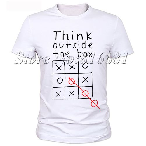 Think out side the box Men letter quote t shirt 100% milk silk ...