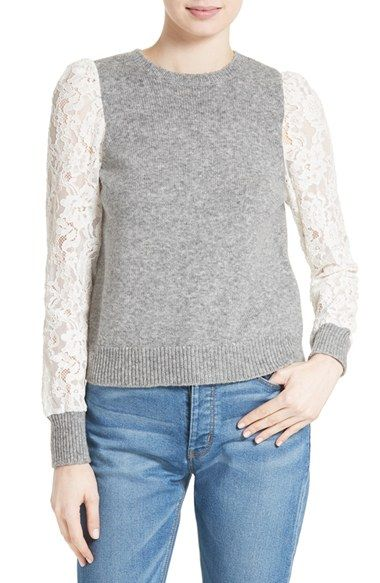 Free shipping and returns on Rebecca Taylor Lace Sleeve Sweater at ...