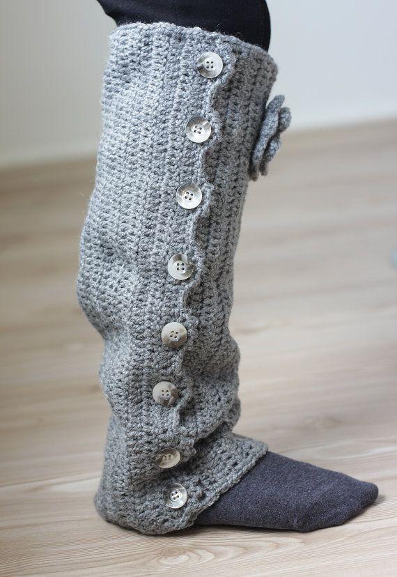 Crochet Leg warmer Gray pastel beautiful fashionable by SENNURSASA ...