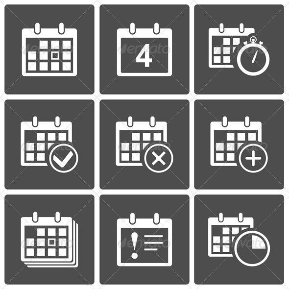 Calendar Icons Set   Agenda Alert Annual Appointment