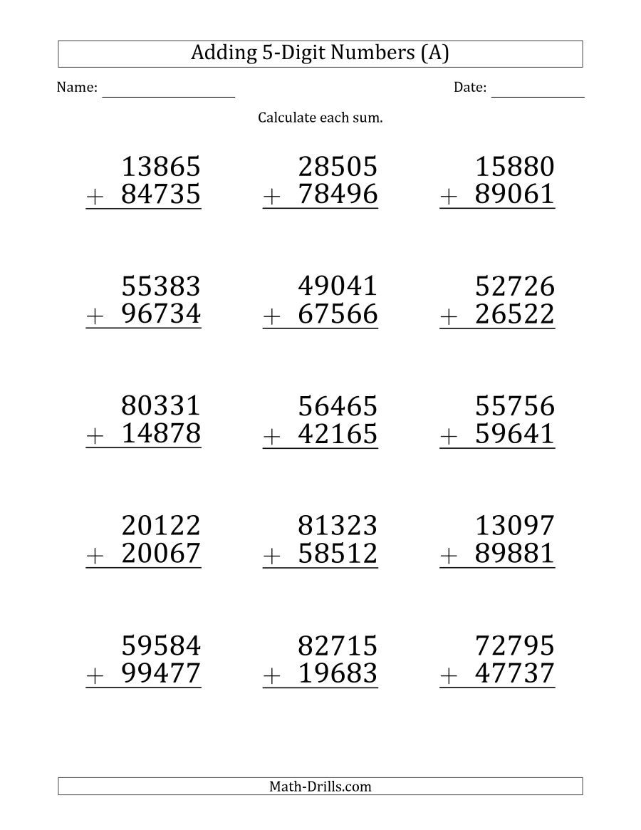 The Large Print 5-Digit Plus 5-Digit Addition with SOME Regrouping (A) Math  Worksheet fro…   Addition worksheets [ 1165 x 900 Pixel ]