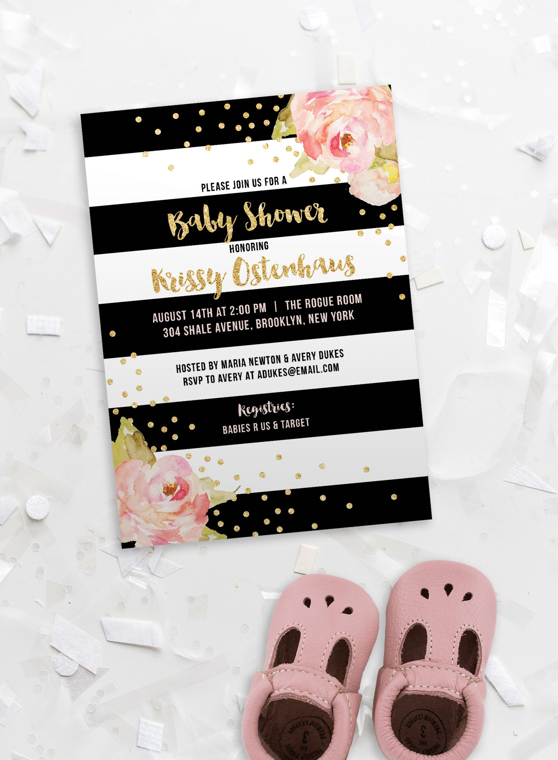 47afcbf70 Black and Pink Baby Shower Invitation in black and white stripes with blush  pink watercolor peonies, gold glitter confetti dot sprinkle, and gold  glitter ...