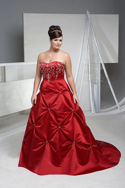 Wedding Dress With Red Sash | Elegant Bridal Style: Plus Size Red ...