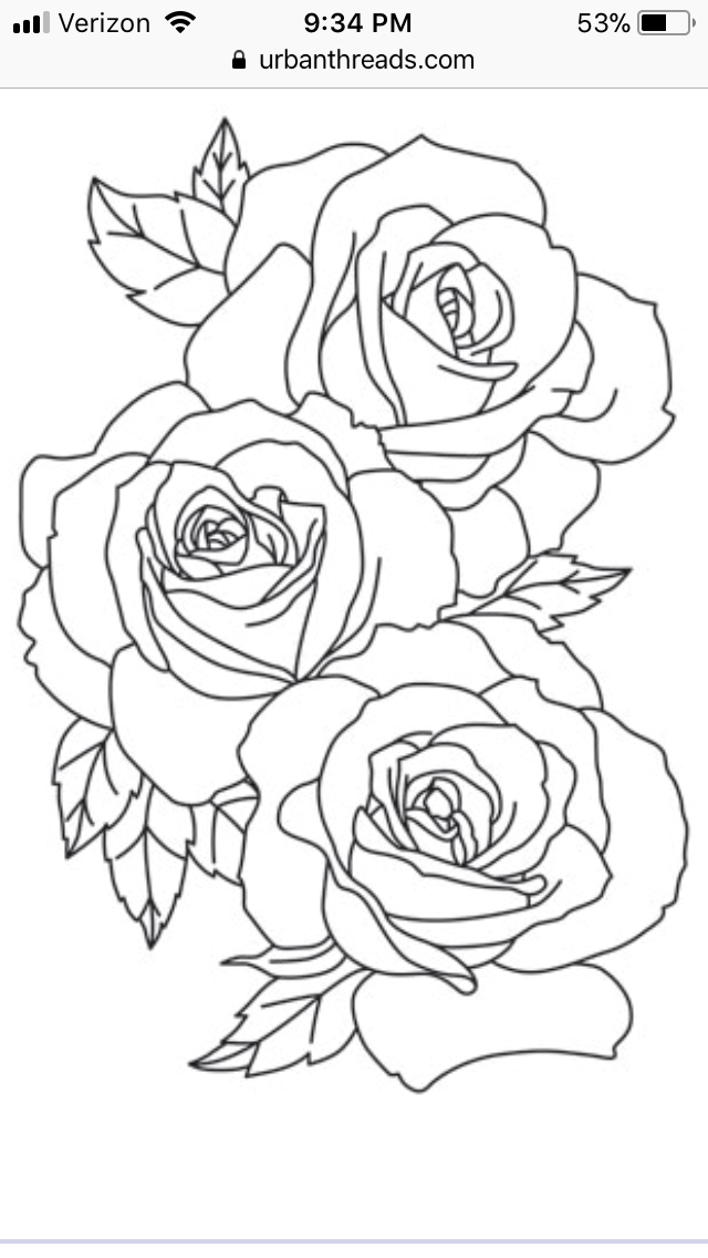 Pin By Chynna Graham On Tattoo Ideas Rose Outline Tattoo Roses Drawing Flower Outline Tattoo