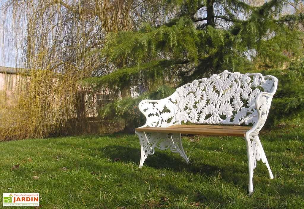 Banc de Jardin Fonte d\'Aluminium et Bois Fougère | MOBILIER de ...