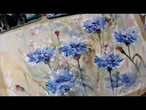 Hedwig S Art Tutorial Cornflower Watercolor Real Time Youtube
