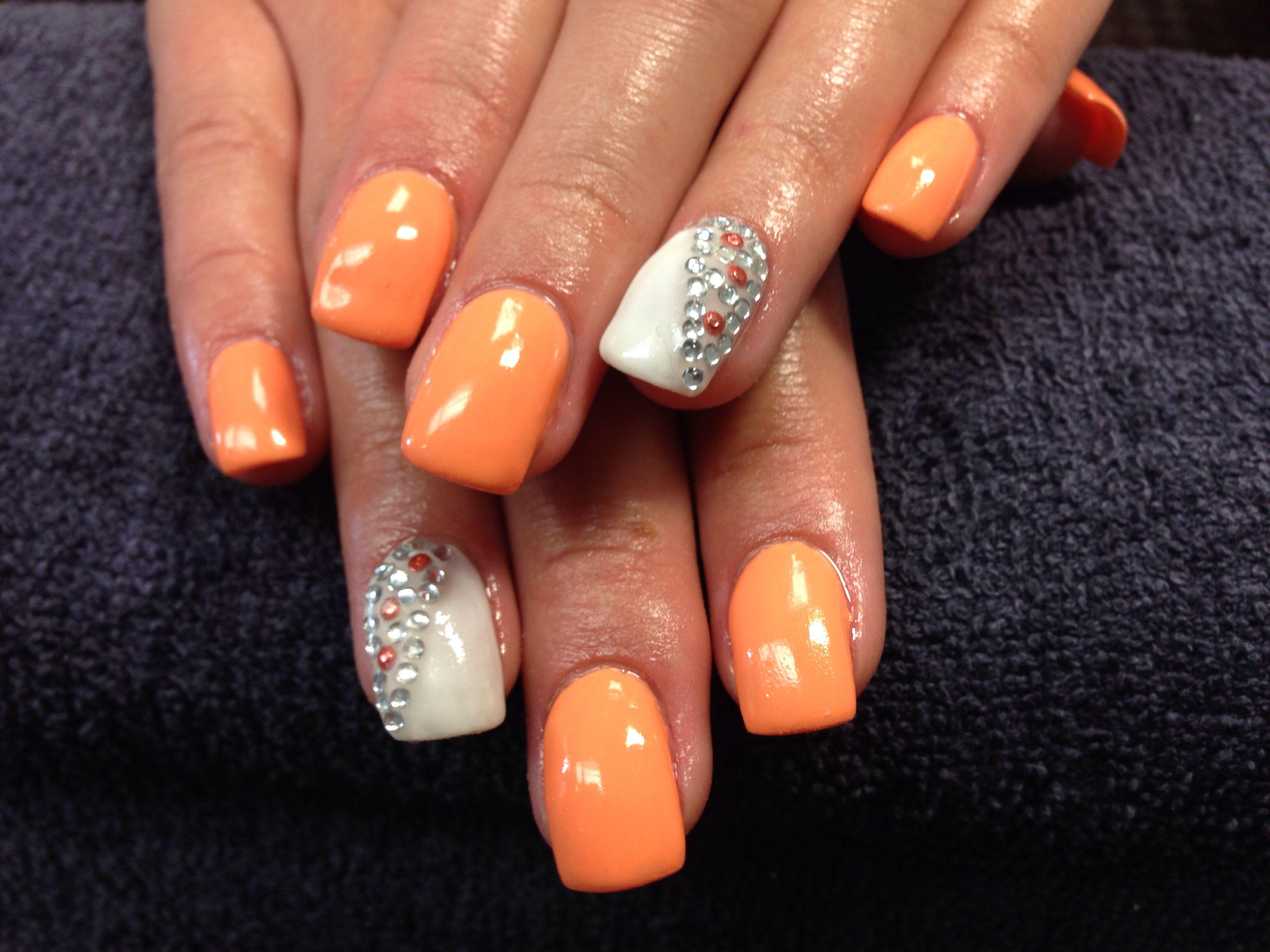 Katie\'s nails. Creamsicle and bling gel nail art ...