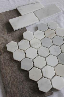 Happenstance Home Shower Hex Tile Floor Subway Walls Faux Wood Tiles For Floor Wood Tile Shower Wood Tile Bathroom Floor Faux Wood Tiles