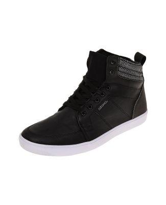 release date: d501f 8cbc7 Tenis tipo bota, color negro, superficie texturizada, ajuste de cordón,  aplicación textil, plataforma en contraste. Plataforma 2.5cm.
