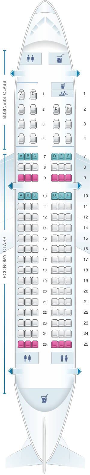 Seat Map Iberia Airbus A319 Two Class