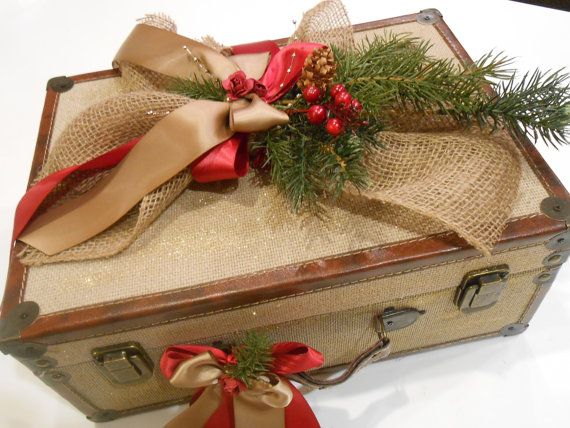 Christmas Decoration / Burlap Suitcase / Christmas by YesMoreFunk, $70.00