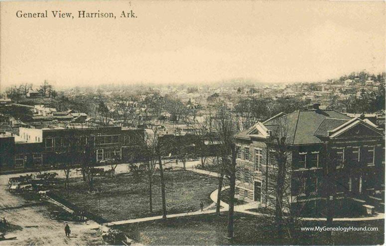 Harrison arkansas general view court house vintage