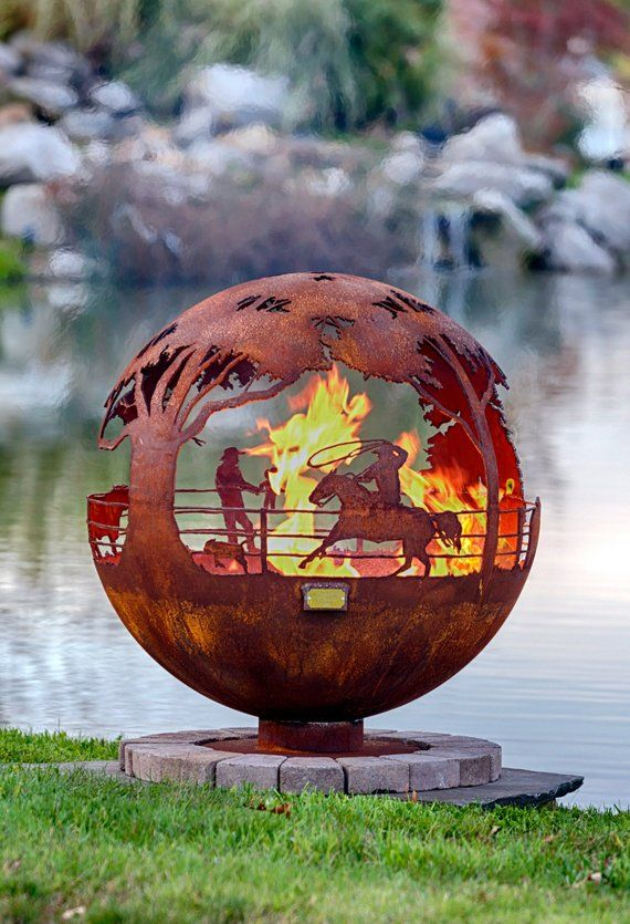 Round Up Ranch Fire Pit Sphere With Flat Steel Base Or Horseshoe Horse Firepit