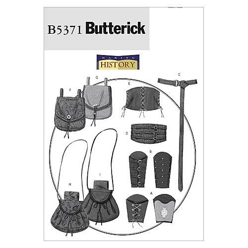 B5371 Sewing Pattern Butterick Historical Warrior Bracers Corset Belts Pouches