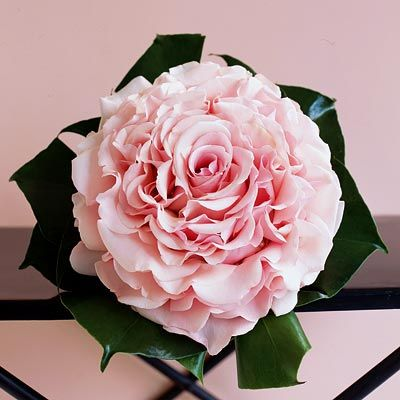 Bouquet made with more than 3 dozen Esperance roses to create the illusion of one large bloom with Monastera leaves framing it.