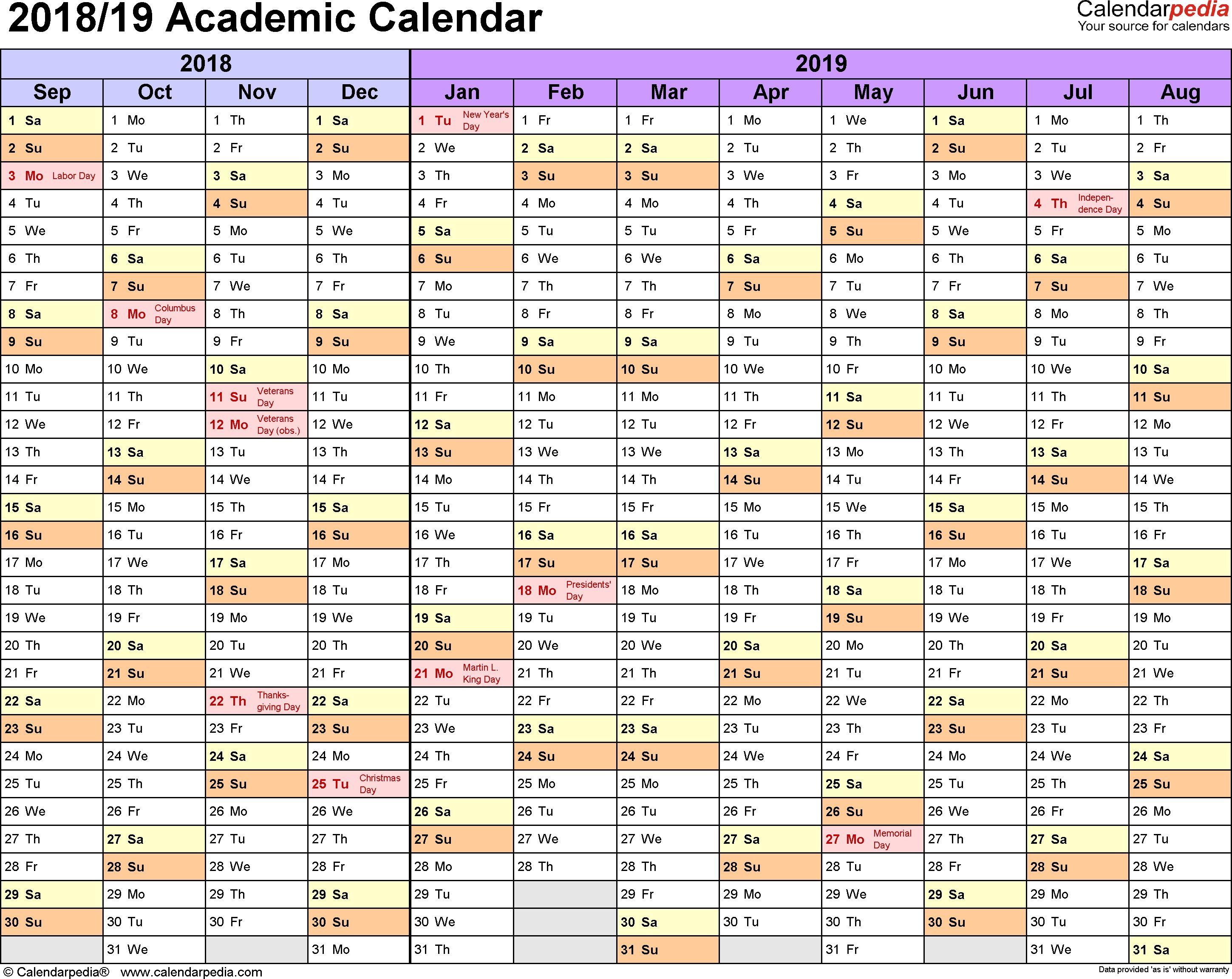 Academic Calendars 2018/2019   Free Printable Excel Templates Free