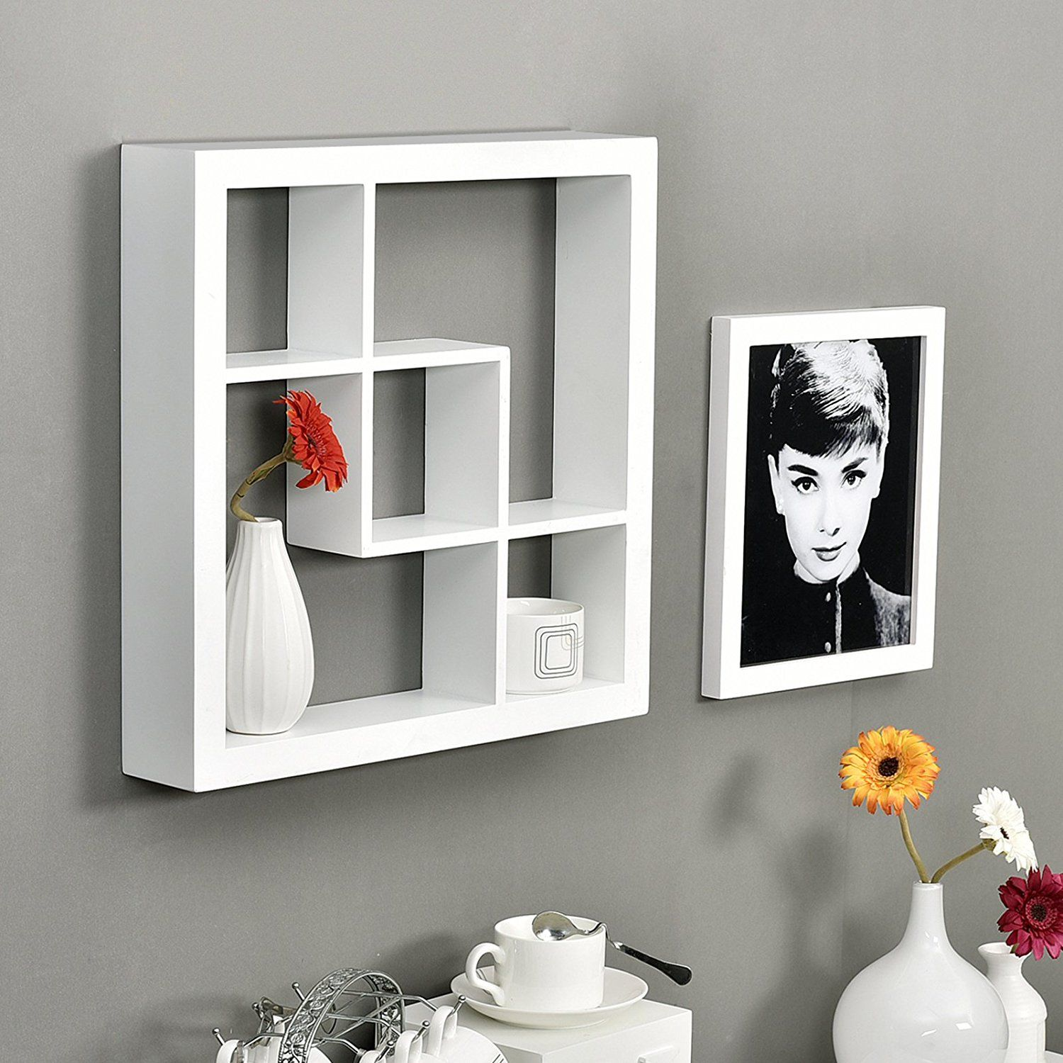 Welland Madison 16 Square Decorative Wall Shelf White Wall Shelf Decor Floating Wall Shelves Wall Shelves