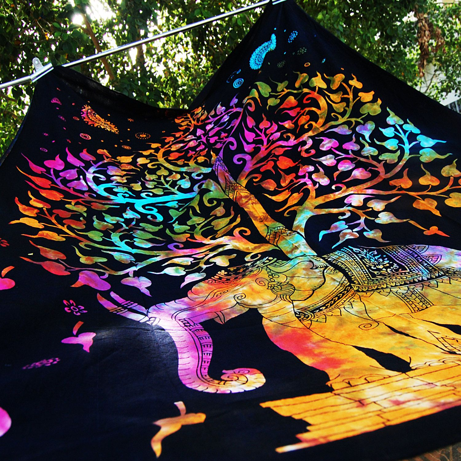 Elephant Tapestry Multicolor Tie Died Table Cloth Ethnic Indian Wall Decor  Art Hippie Bedding Gypsy Bedspread